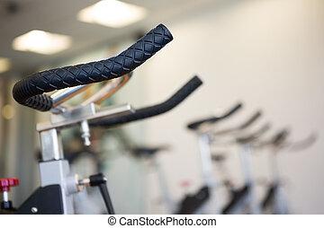 vordergrund, Fahrräder, Fokus, Übung, Reihe