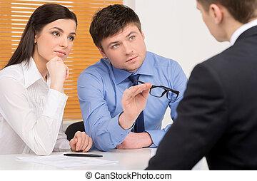 vordergrund, kandidat, agentur, interview., menschliche ,...