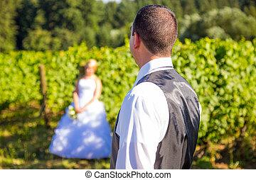 vorgewählter fokus, braut bräutigam