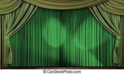 vorhänge, grün, stoff, theater