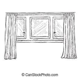 Vorh nge skizze fenster abbildung inneneinrichtung for Fenster 800x800