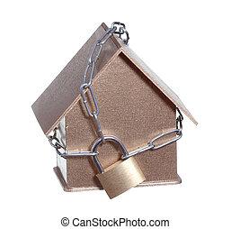vorhängeschloß, geschützt, kette, daheim