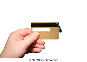 vorhängeschloß, karte, bank, hand