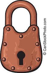 vorhängeschloß, rostiges , (old, padlock)