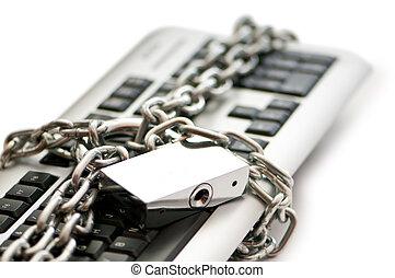 vorhängeschloß, sicherheit, begriff, internet, tastatur