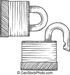 vorhängeschloß, skizze