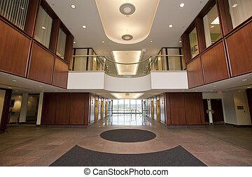 vorhalle, in, bürogebäude