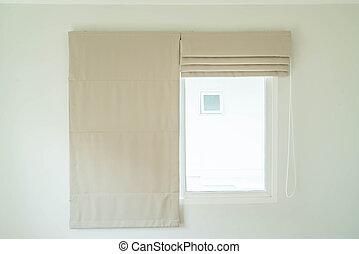 vorhang, innenausstattung, in, wohnzimmer