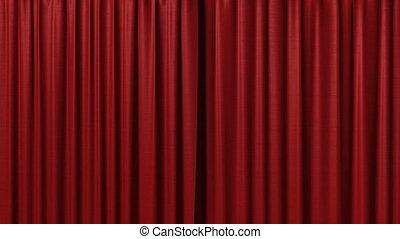 vorhang, rotes , öffnung