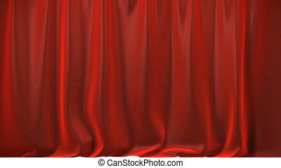 vorhang, rotes , hebend