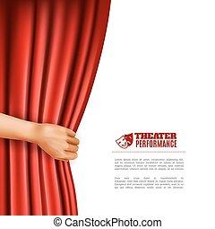 vorhang, theater, öffnung, abbildung, hand