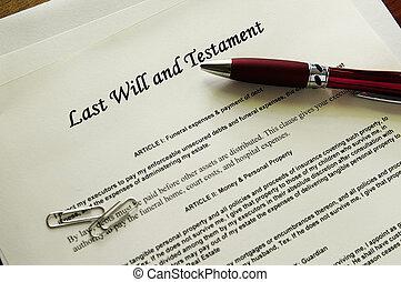 vorige wens en testament, documenten, met, misc, items