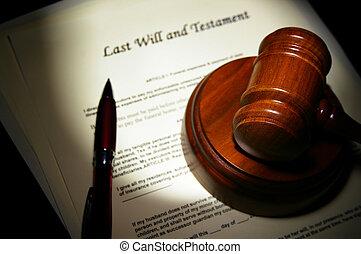 vorige wens en testament, met, wettelijk, gavel