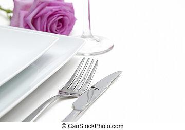 vork, china, diner, setting., plek, platen, witte , zilver, mes