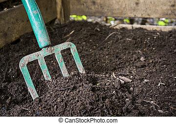 vork, compost, draaien, tuin