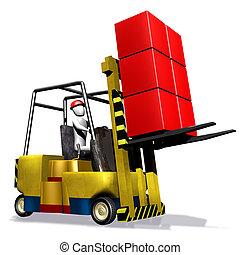 vork, doosje, vrachtwagen, gele