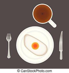 vork, koffie, schaaltje, kop, bovenzijde, knife., ontbijt, gebraade eieren, aanzicht