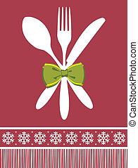 vork, lepel, en, mes, kerstmis, achtergrond