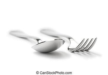 vork, lepel, schoonmaken