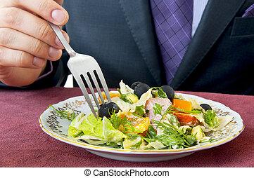 vork, salad., eten, hand, closeup, man
