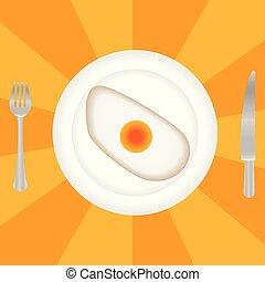vork, schaaltje, eitjes, ontbijt, gebraden, bovenzijde, mes, aanzicht
