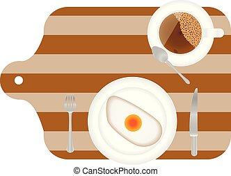 vork, schaaltje, houten, eitjes, gaar, desk., ontbijt, gebraden, bovenzijde, mes, aanzicht