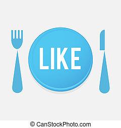 vork, schaaltje, liefde, voedingsmiddelen, knoop, -, mes