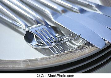 vork, schaaltje, mes