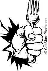 vork, verbreking, vasthouden, achtergrond, hand