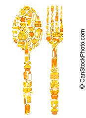 vork, voedingsmiddelen, lepel, pictogram