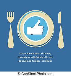 vork, zoals, schaaltje, voedingsmiddelen, op, duimen, knife., pictogram