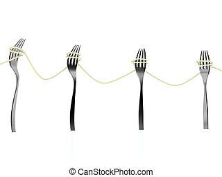 vorken, spaghetti