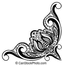 vorm, abstract, angle., vrijstaand, regeling, zwarte achtergrond, floral, witte , grens
