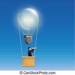 vorm, balloon, lamp, lucht, warme, incandescent, man