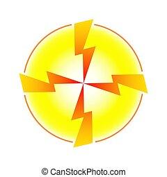 vorm, binnen, pijl, gele, lightning, vier, cirkel, convergeren