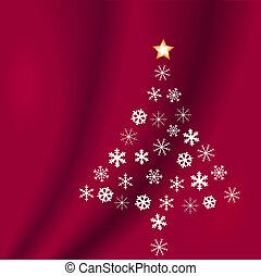 vorm, boompje, snowflakes, rood, kerstmis