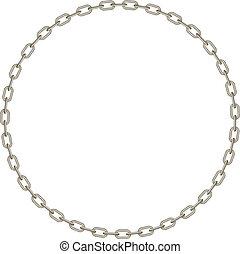 vorm, cirkel, ketting, zilver