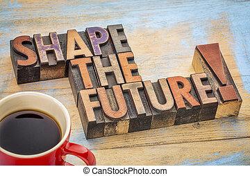 vorm, de toekomst, frase, in, hout, type