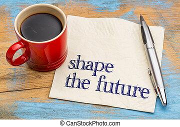 vorm, de toekomst, frase, op, servet