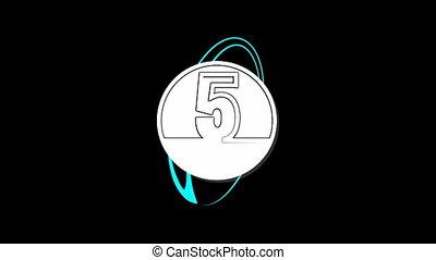 vorm, een, aftellen, vijf, getallen, spotprent
