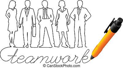 vorm een team werk, tekening, zakenlui