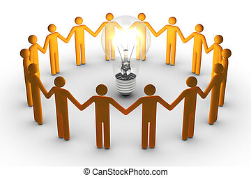vorm een team werk, voor, ideeën