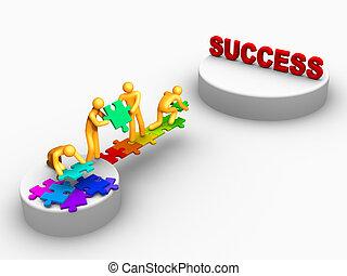 vorm een team werk, voor, succes