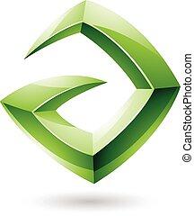 vorm, groene, glanzend, logo, scherp, 3d