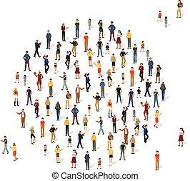 vorm, groep, circle., mensen
