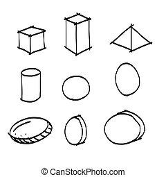 vorm, hand, geometrisch, tekening