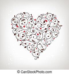 vorm, hart, jouw, floral ontwerpen, ornament