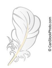 vorm, illustratie, vector, pen., wite veer, vogel