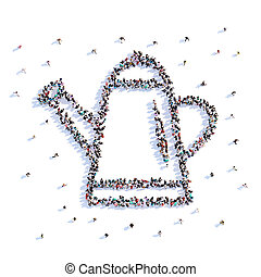 vorm, mensen, groenteblik, watering, rendering., landbouw, partij, pictogram, 3d
