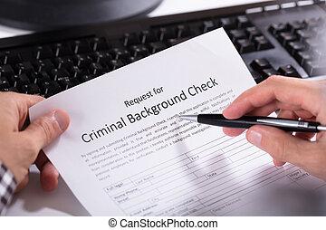 vorm, persoon, hand, toepassing, vullen, achtergrond, crimineel, controleren